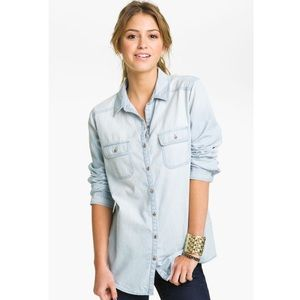 Rubbish Tops - Rubbish Lightwash Chambray Button Front Shirt